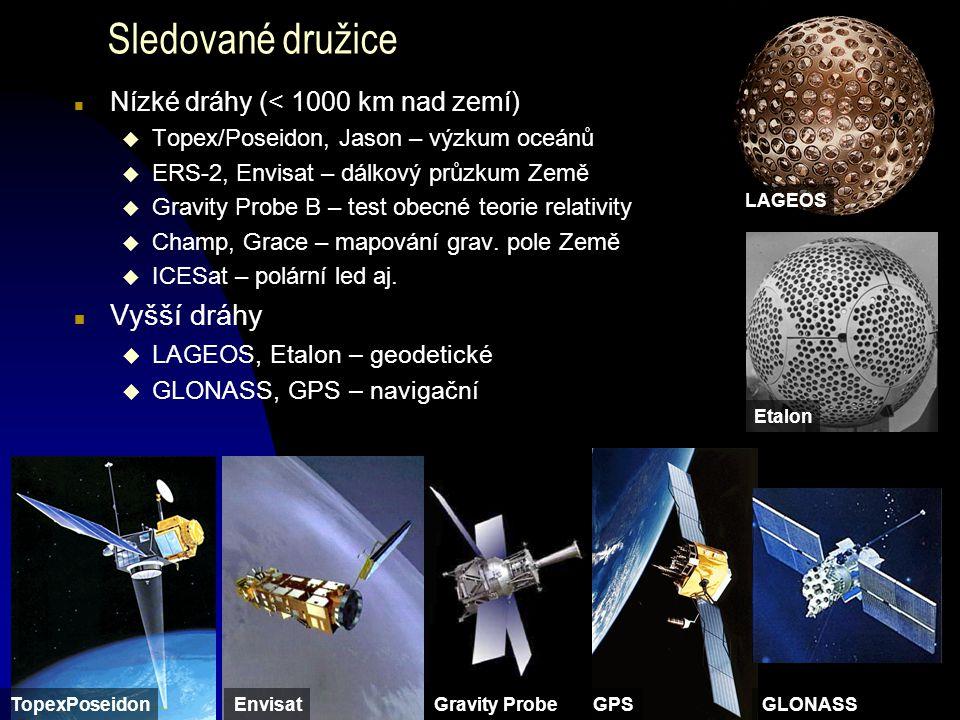 Sledované družice n Nízké dráhy (< 1000 km nad zemí) u Topex/Poseidon, Jason – výzkum oceánů u ERS-2, Envisat – dálkový průzkum Země u Gravity Probe B