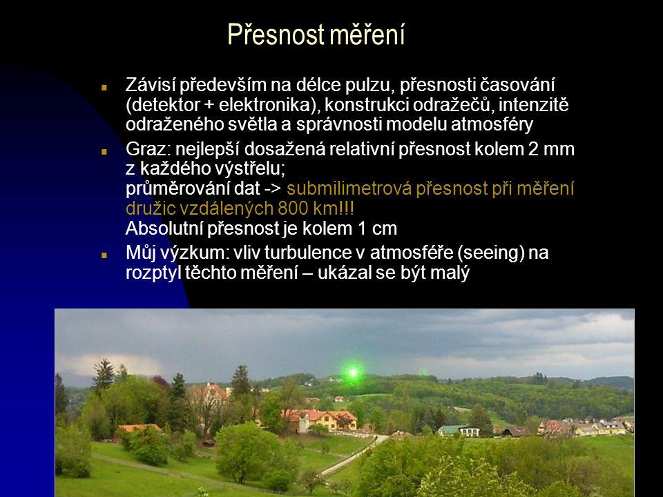 L. Král, Laser mezi hvězdami, Podzimní setkání APO, listopad 2005 Přesnost měření n Závisí především na délce pulzu, přesnosti časování (detektor + el