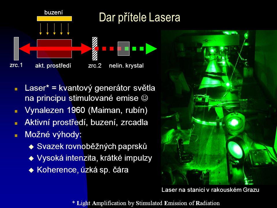 Dar přítele Lasera n Laser* = kvantový generátor světla na principu stimulované emise n Vynalezen 1960 (Maiman, rubín) n Aktivní prostředí, buzení, zr