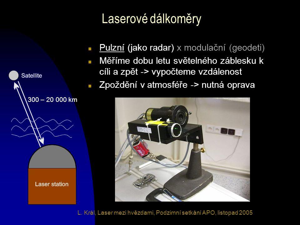 L. Král, Laser mezi hvězdami, Podzimní setkání APO, listopad 2005 Laserové dálkoměry n Pulzní (jako radar) x modulační (geodeti) n Měříme dobu letu sv