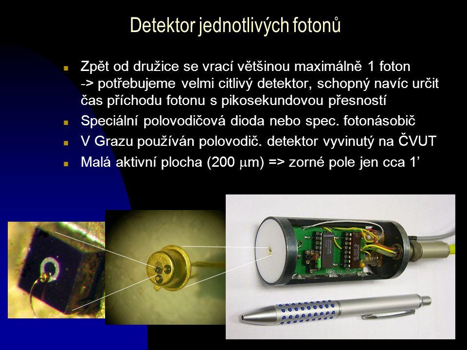 Detektor jednotlivých fotonů n Zpět od družice se vrací většinou maximálně 1 foton -> potřebujeme velmi citlivý detektor, schopný navíc určit čas příc