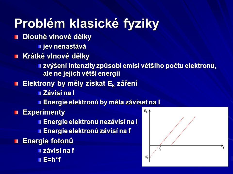 Vlastnosti fotoelektrického jevu Každá látka má mezní (prahový) kmitočet Pro frekvence pod prahovým kmitočtem emise nenastává Pro frekvence nad prahovým kitočtem emise nastává energie fotoelektronů mezi 0 a E max E max =h(f-f 0 )=hf – hf 0 Klasická fyzika toto neumí vysvětlit