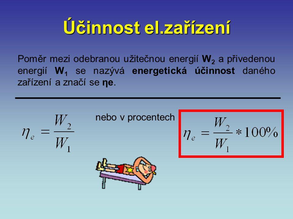 Účinnost el.zařízení přivedenou energii označíme W 1 odebranou užitečnou energii označíme W 2 nevyužitou (ztracenou) energii označíme Δ W. W1 W2 ΔWΔW