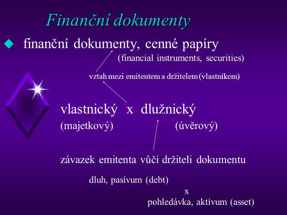 Finanční dokumenty (klasifikace 1) dlužnické (úvěrové) (generální úvěrové listy, obligace, pokladniční poukázky, směnky, šeky …) x vlastnické (majetkové) (akcie, podíly, kuksy …) materializované x dematerializované (zaknihované)