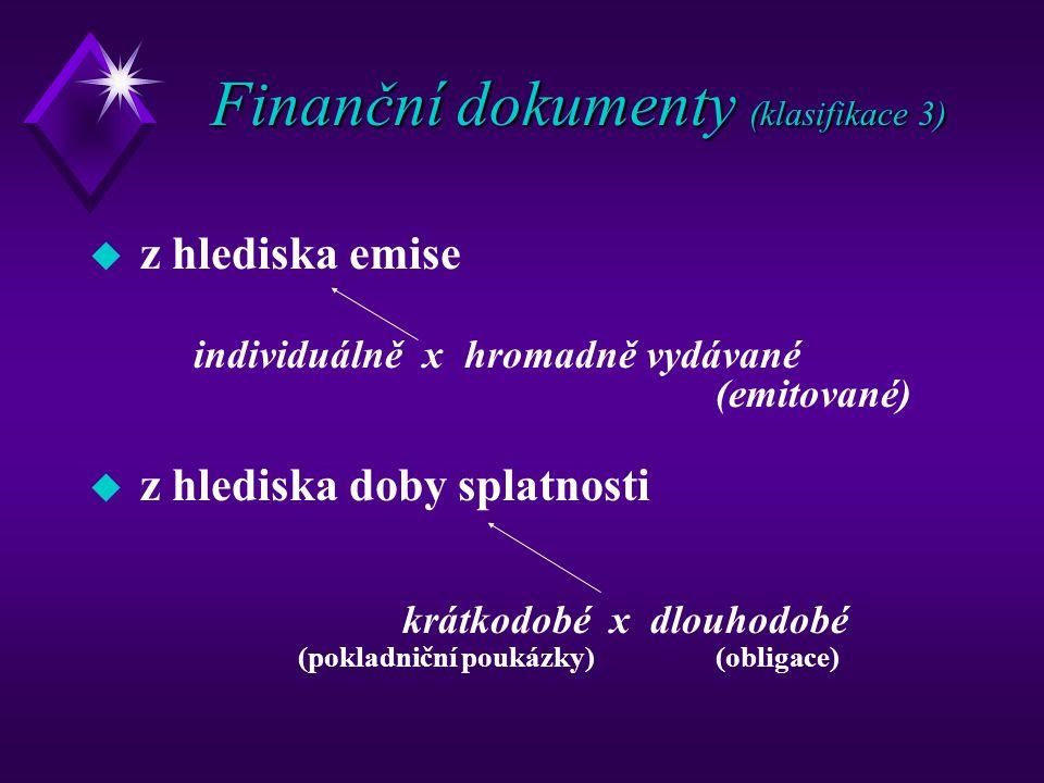 Finanční dokumenty (klasifikace 3) u z hlediska emise individuálně x hromadně vydávané (emitované) u z hlediska doby splatnosti krátkodobé x dlouhodob