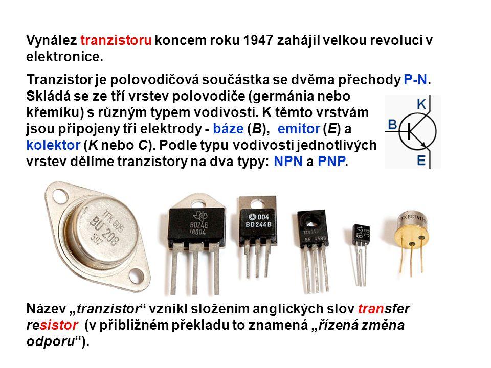 Struktura tranzistoru Tranzistor typu PNP Tranzistor typu NPN