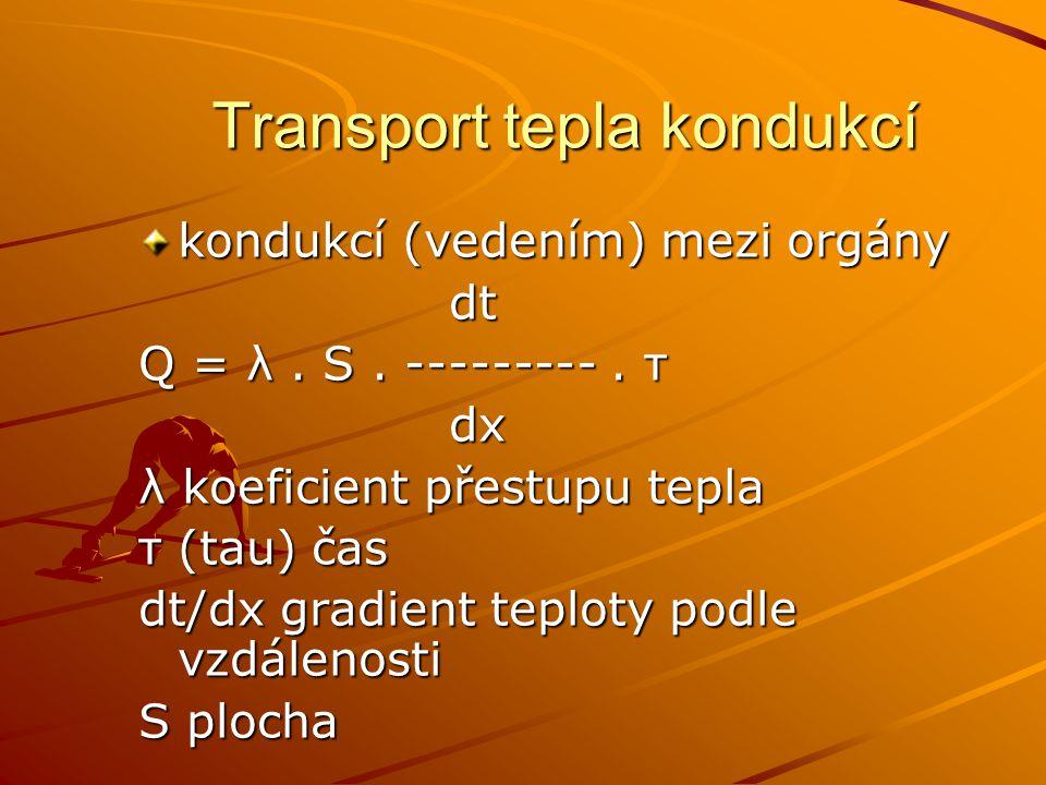 Transport tepla kondukcí kondukcí (vedením) mezi orgány dt dt Q = λ. S. ---------. τ dx dx λ koeficient přestupu tepla τ (tau) čas dt/dx gradient tepl