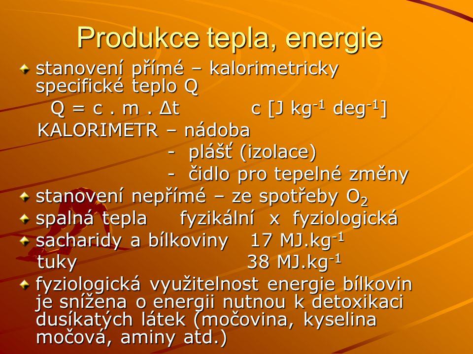 Produkce tepla, energie stanovení přímé – kalorimetricky specifické teplo Q Q = c. m. Δt c [J kg -1 deg -1 ] Q = c. m. Δt c [J kg -1 deg -1 ] KALORIME