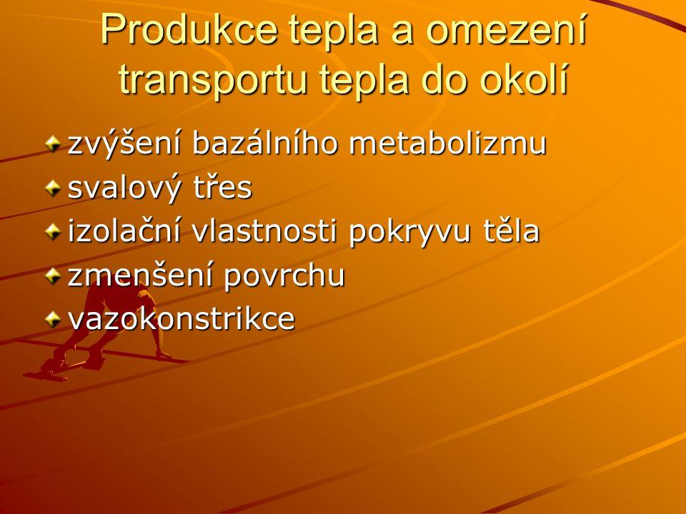 Produkce tepla a omezení transportu tepla do okolí zvýšení bazálního metabolizmu svalový třes izolační vlastnosti pokryvu těla zmenšení povrchu vazoko