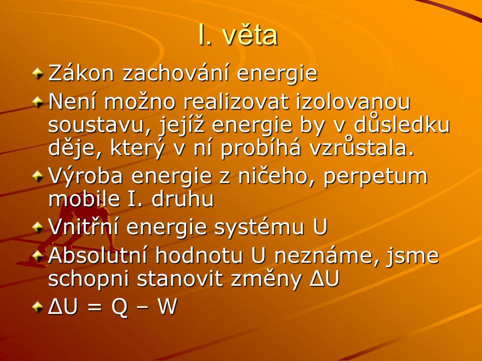 I. věta Zákon zachování energie Není možno realizovat izolovanou soustavu, jejíž energie by v důsledku děje, který v ní probíhá vzrůstala. Výroba ener