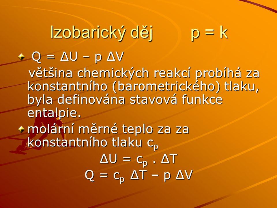 Izobarický děj p = k Q = ∆U – p ∆V Q = ∆U – p ∆V většina chemických reakcí probíhá za konstantního (barometrického) tlaku, byla definována stavová fun