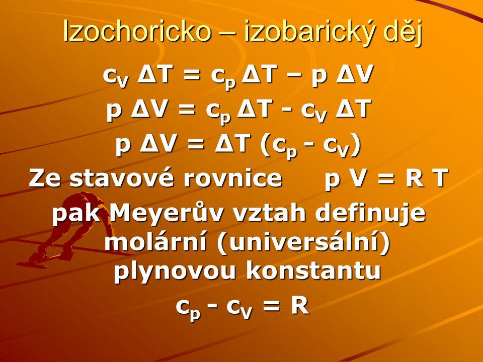 Izochoricko – izobarický děj c V ∆T = c p ∆T – p ∆V p ∆V = c p ∆T - c V ∆T p ∆V = ∆T (c p - c V ) Ze stavové rovnice p V = R T pak Meyerův vztah defin