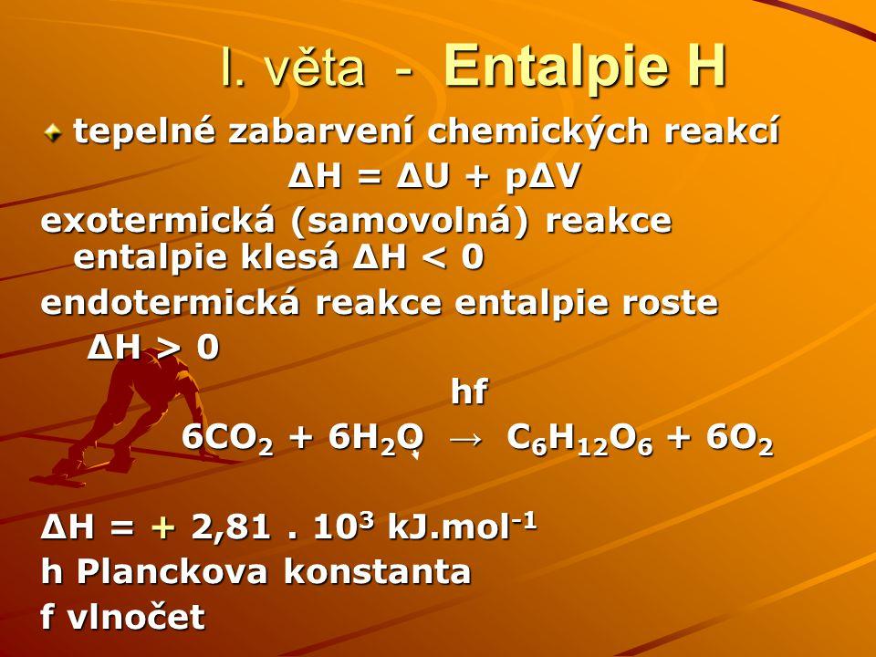 I. věta - Entalpie H tepelné zabarvení chemických reakcí ΔH = ΔU + pΔV exotermická (samovolná) reakce entalpie klesá ΔH < 0 endotermická reakce entalp