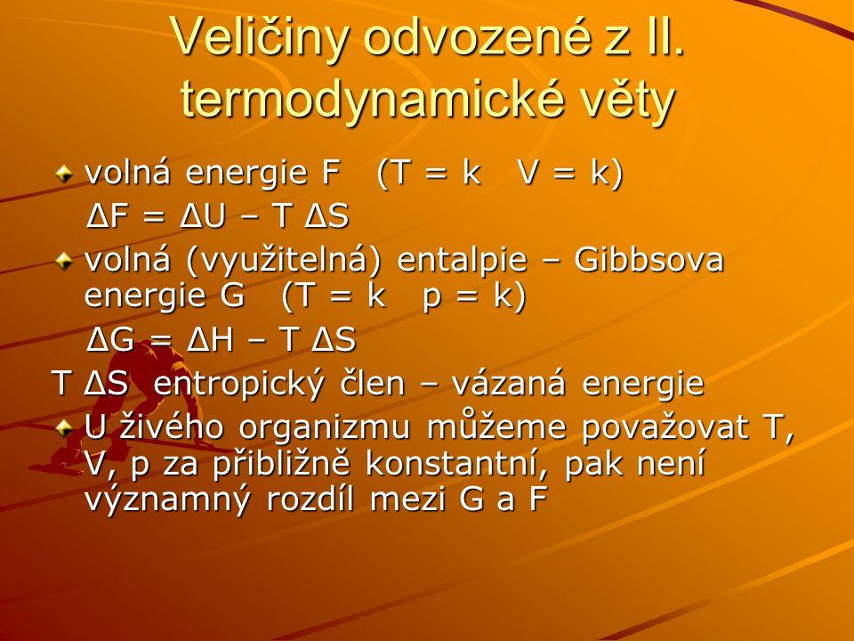 Veličiny odvozené z II. termodynamické věty volná energie F (T = k V = k) ΔF = ΔU – T ΔS ΔF = ΔU – T ΔS volná (využitelná) entalpie – Gibbsova energie