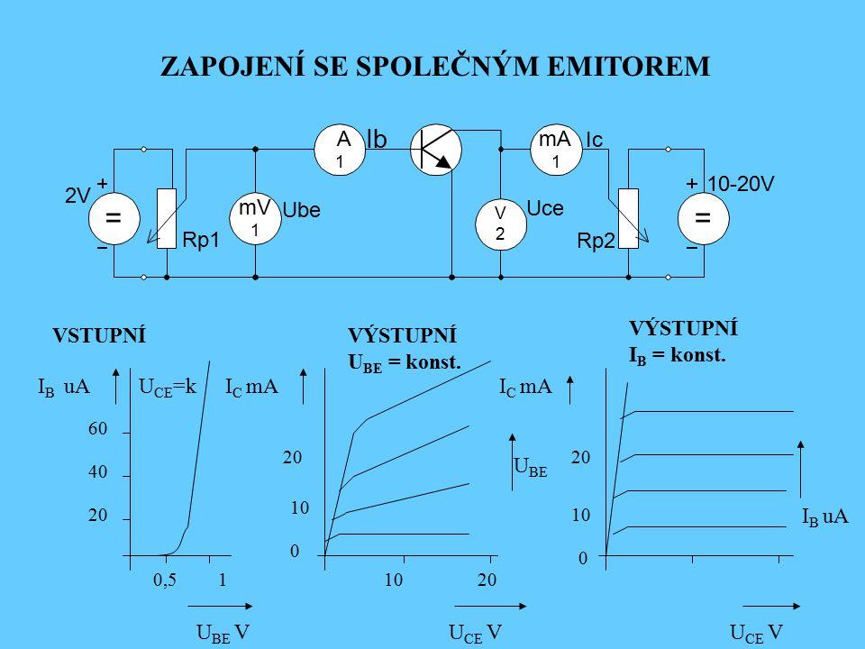 mV 1 = m A 1 V 2 1 = Rp1 Ic Uce Rp2 10-20V Ie Ube 2V IEIE VSTUPNÍVÝSTUPNÍ U BE = konst. VÝSTUPNÍ I E = konst. U BE VU CB V U BE I E mA -5 -10 -15 0,51