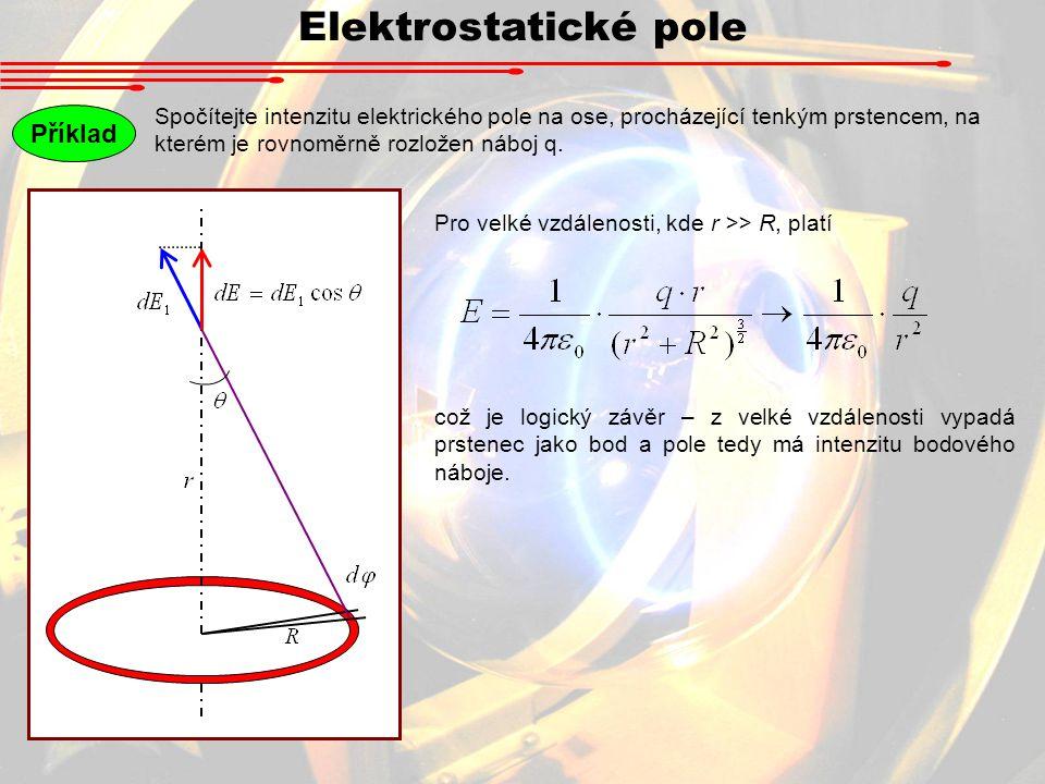 Spočítejte intenzitu elektrického pole na ose, procházející tenkým prstencem, na kterém je rovnoměrně rozložen náboj q.