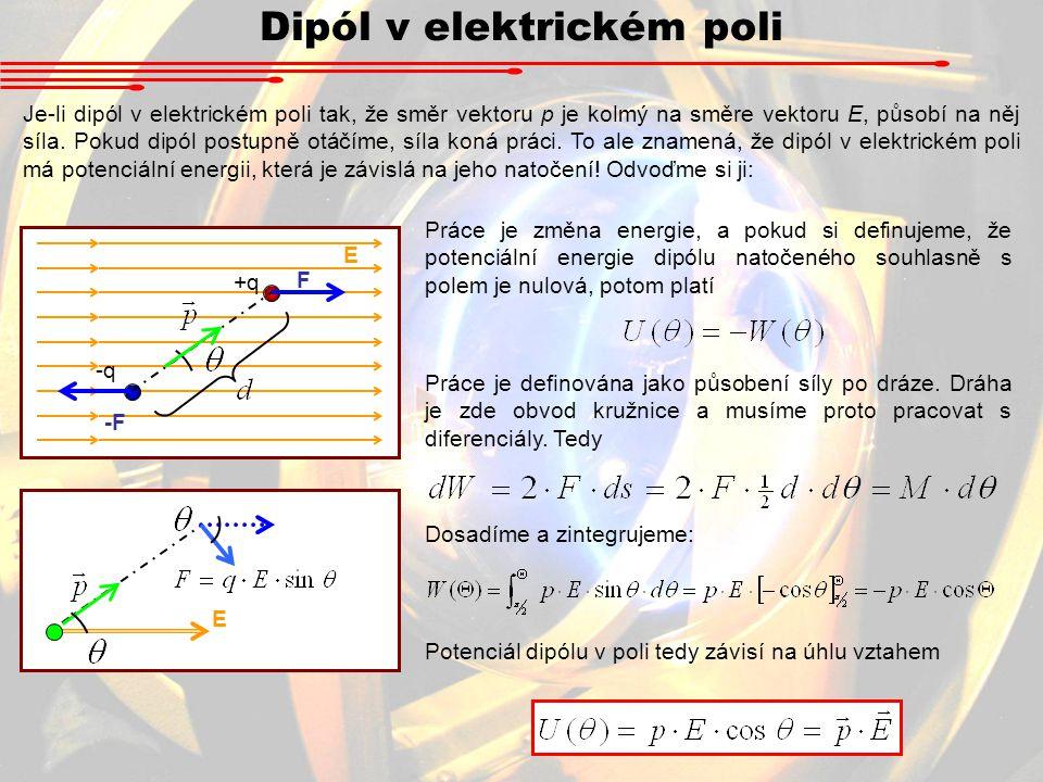 Dipól v elektrickém poli Je-li dipól v elektrickém poli tak, že směr vektoru p je kolmý na směre vektoru E, působí na něj síla.
