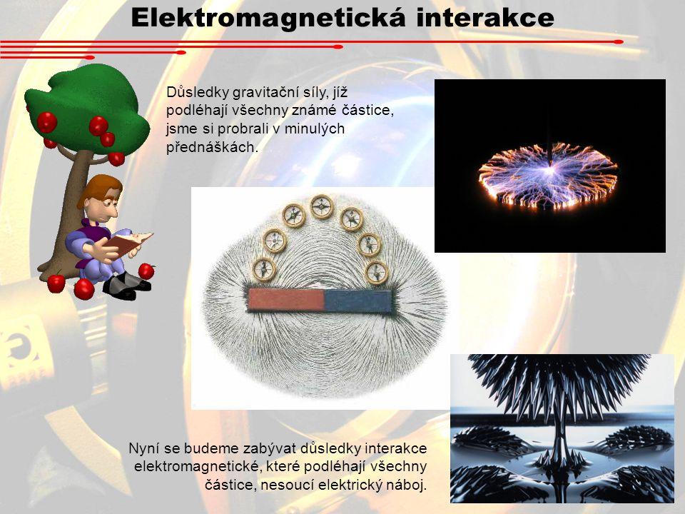 Elektromagnetická interakce Důsledky gravitační síly, jíž podléhají všechny známé částice, jsme si probrali v minulých přednáškách.