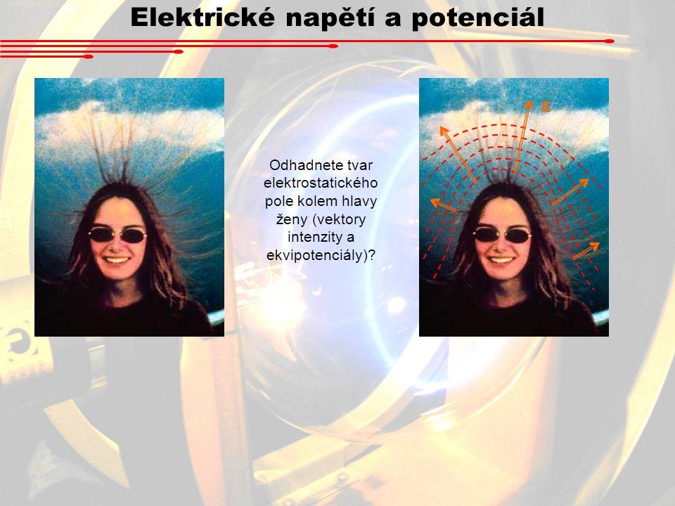 Elektrické napětí a potenciál E Odhadnete tvar elektrostatického pole kolem hlavy ženy (vektory intenzity a ekvipotenciály)?