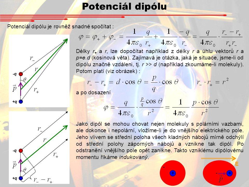 Potenciál dipólu Potenciál dipólu je rovněž snadné spočítat : -q +q Délky r + a r - lze dopočítat například z délky r a úhlu vektorů r a p=e.d (kosinová věta).