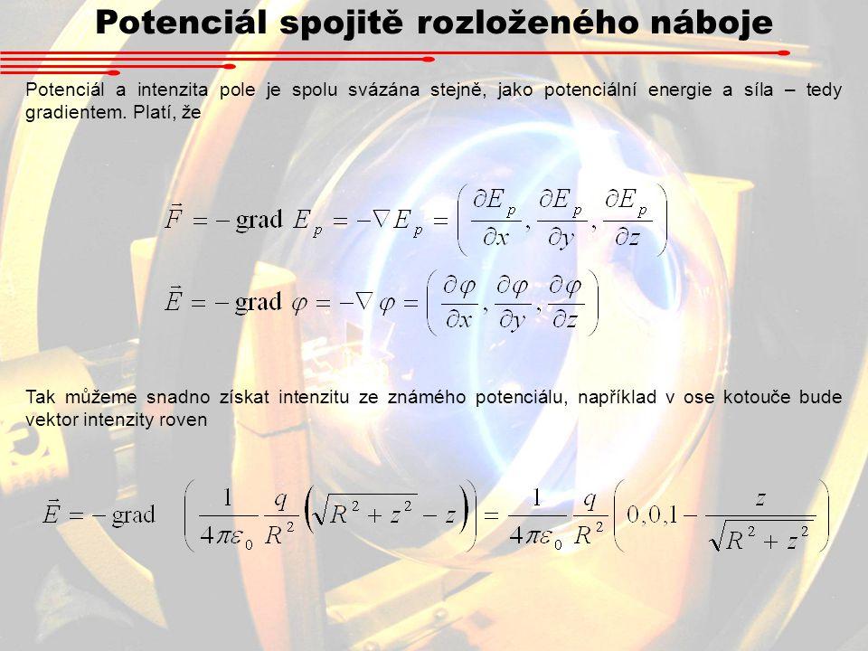 Potenciál spojitě rozloženého náboje Potenciál a intenzita pole je spolu svázána stejně, jako potenciální energie a síla – tedy gradientem.