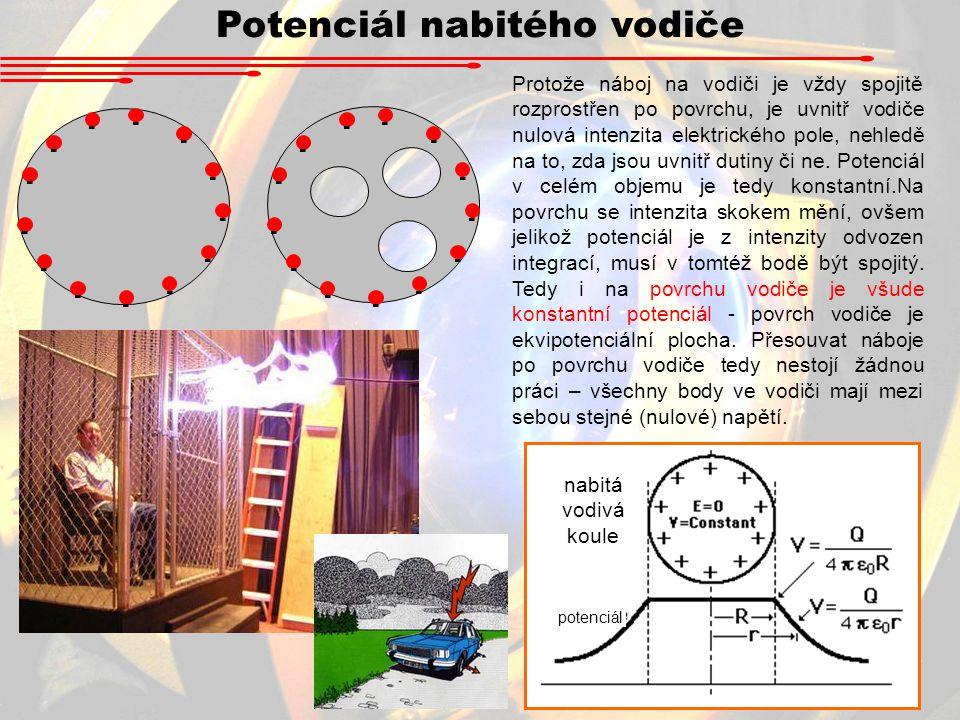 Potenciál nabitého vodiče - - - - - - - - - - - - - - - - - - - - - - - - - - Protože náboj na vodiči je vždy spojitě rozprostřen po povrchu, je uvnitř vodiče nulová intenzita elektrického pole, nehledě na to, zda jsou uvnitř dutiny či ne.