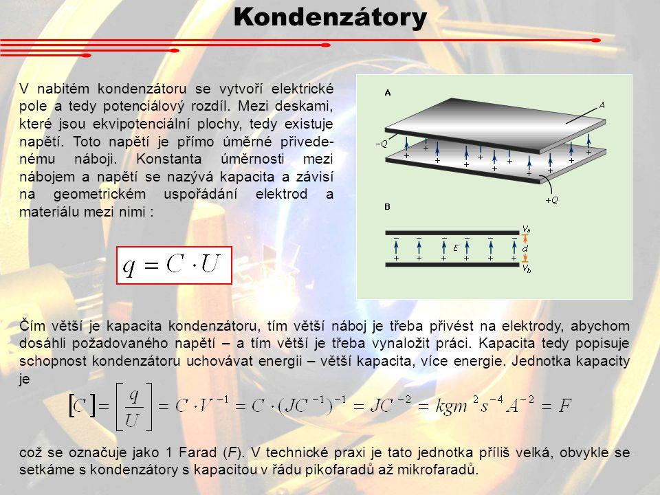 Kondenzátory V nabitém kondenzátoru se vytvoří elektrické pole a tedy potenciálový rozdíl.