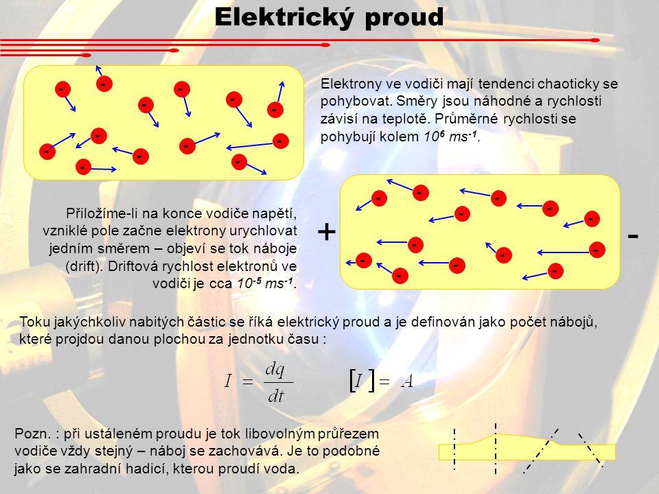 Elektrický proud - - - - - - - - - - - - - - - - - - - - - - - - - - Elektrony ve vodiči mají tendenci chaoticky se pohybovat.