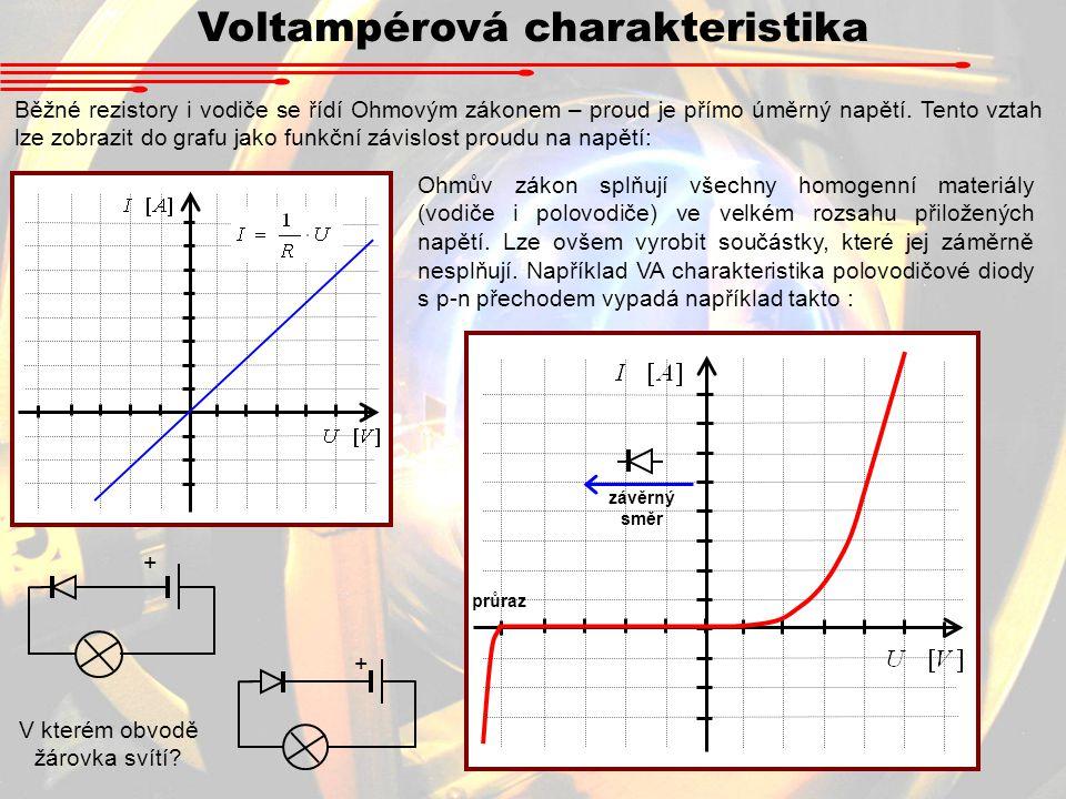 Voltampérová charakteristika Běžné rezistory i vodiče se řídí Ohmovým zákonem – proud je přímo úměrný napětí.