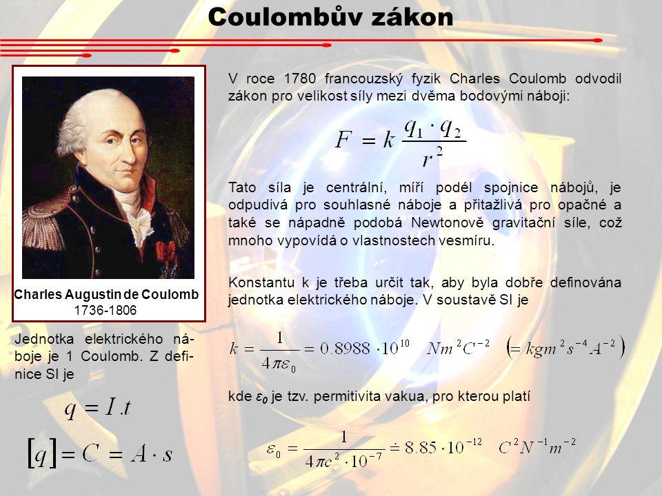 Coulombův zákon Charles Augustin de Coulomb 1736-1806 Jednotka elektrického ná- boje je 1 Coulomb.