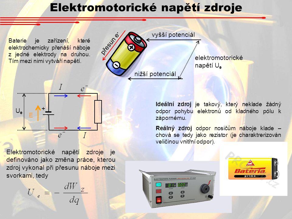 Elektromotorické napětí zdroje Baterie je zařízení, které elektrochemicky přenáší náboje z jedné elektrody na druhou.