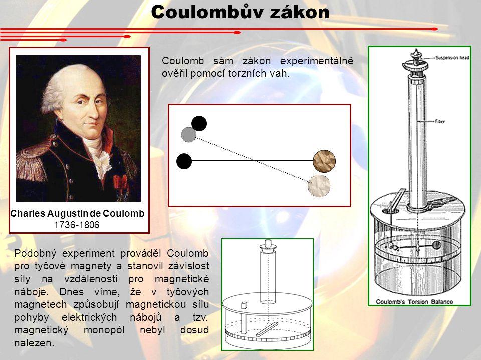 Coulombův zákon Charles Augustin de Coulomb 1736-1806 Coulomb sám zákon experimentálně ověřil pomocí torzních vah.