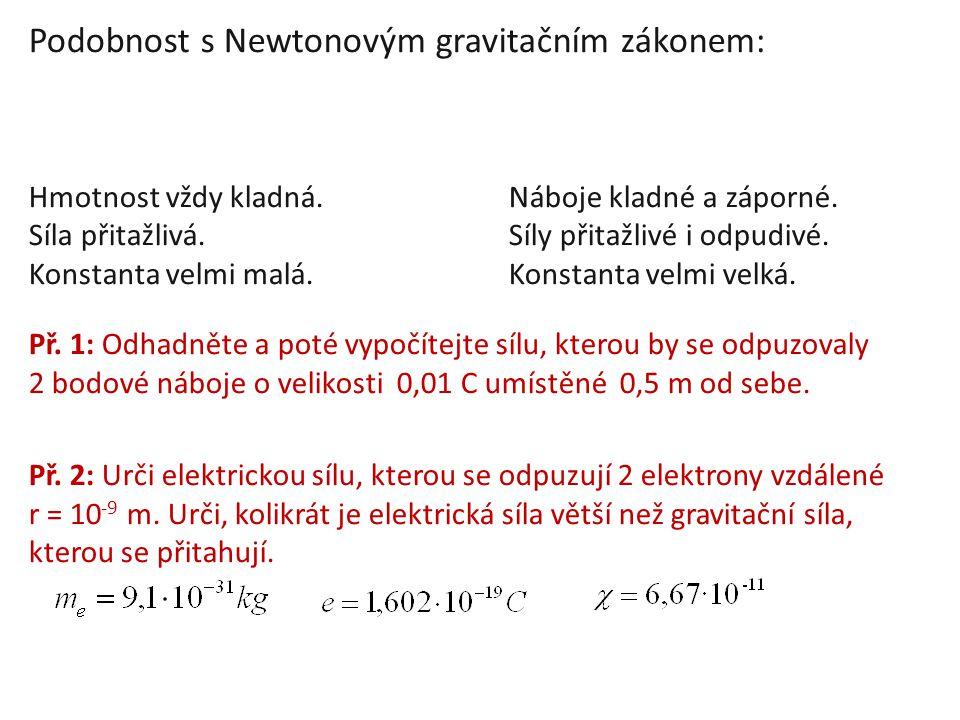 Podobnost s Newtonovým gravitačním zákonem: Hmotnost vždy kladná.Náboje kladné a záporné. Síla přitažlivá.Síly přitažlivé i odpudivé. Konstanta velmi