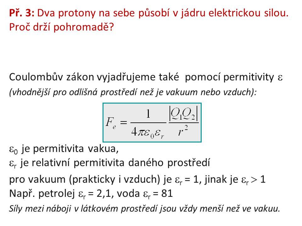 Př. 3: Dva protony na sebe působí v jádru elektrickou silou. Proč drží pohromadě? Coulombův zákon vyjadřujeme také pomocí permitivity  (vhodnější pro