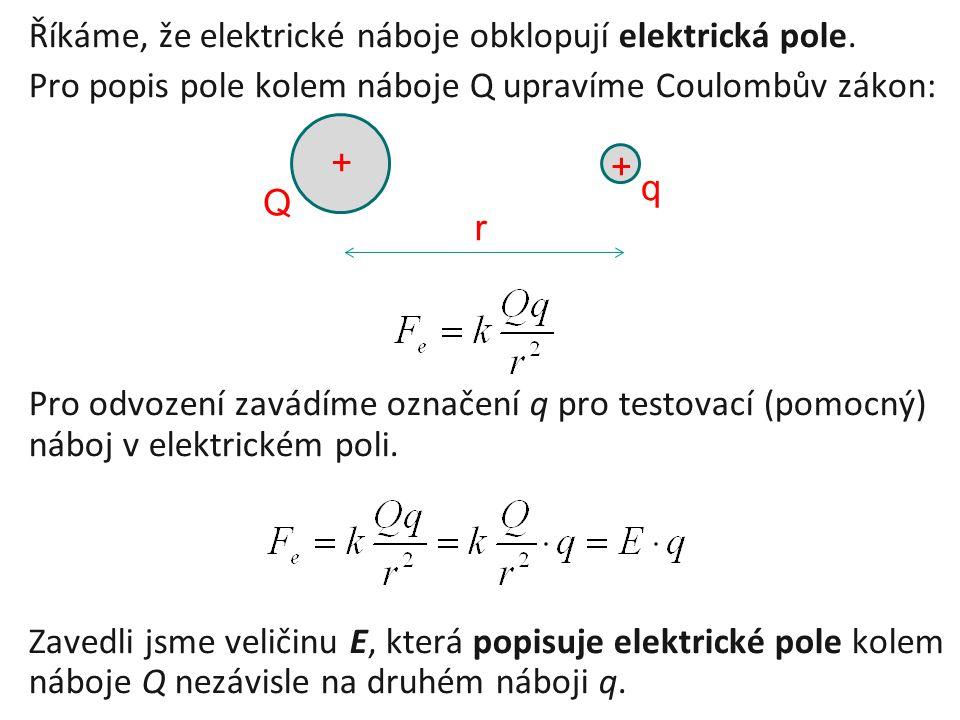 Říkáme, že elektrické náboje obklopují elektrická pole. Pro popis pole kolem náboje Q upravíme Coulombův zákon: Pro odvození zavádíme označení q pro t