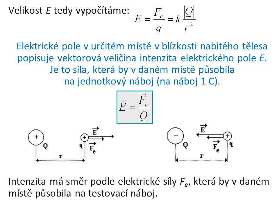 Velikost E tedy vypočítáme: Elektrické pole v určitém místě v blízkosti nabitého tělesa popisuje vektorová veličina intenzita elektrického pole E. Je