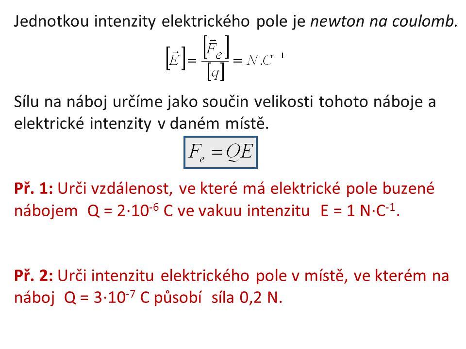Jednotkou intenzity elektrického pole je newton na coulomb. Sílu na náboj určíme jako součin velikosti tohoto náboje a elektrické intenzity v daném mí