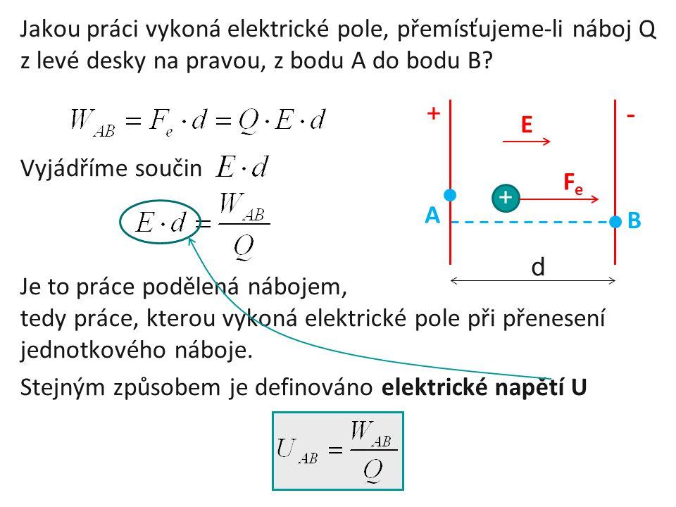 Jakou práci vykoná elektrické pole, přemísťujeme-li náboj Q z levé desky na pravou, z bodu A do bodu B? Vyjádříme součin Je to práce podělená nábojem,