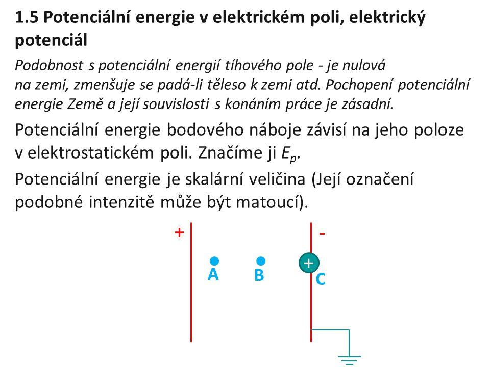 1.5 Potenciální energie v elektrickém poli, elektrický potenciál Podobnost s potenciální energií tíhového pole - je nulová na zemi, zmenšuje se padá-l