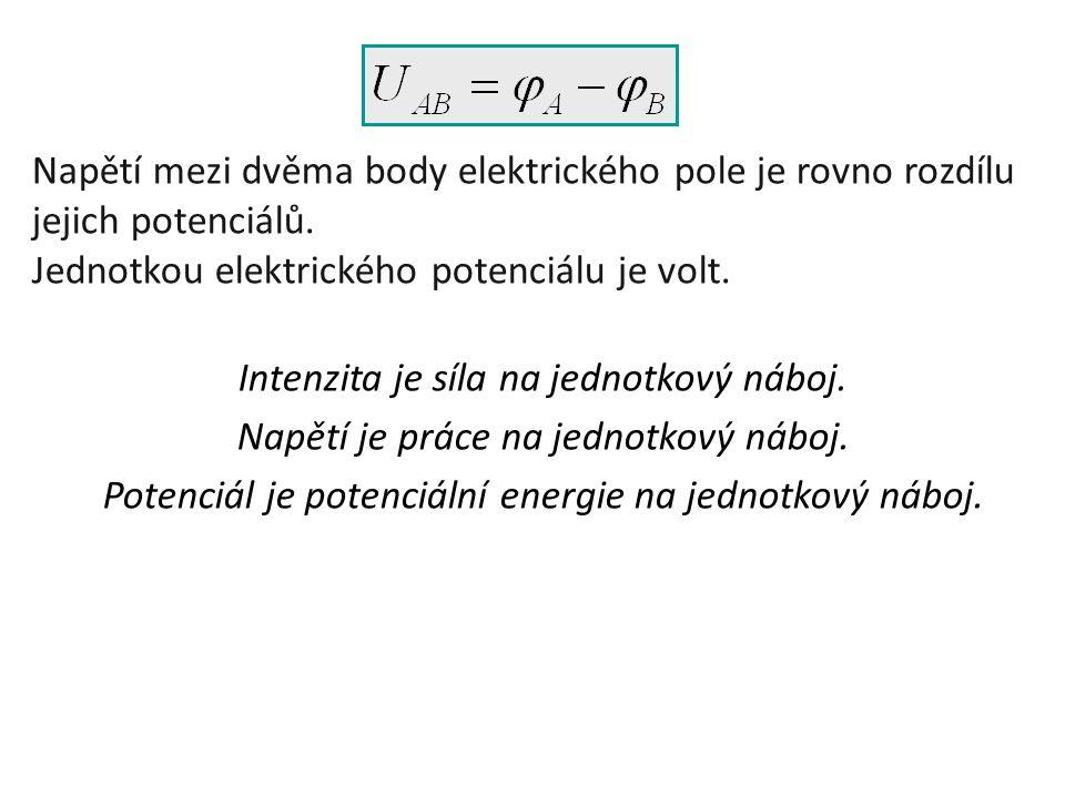 Napětí mezi dvěma body elektrického pole je rovno rozdílu jejich potenciálů. Jednotkou elektrického potenciálu je volt. Intenzita je síla na jednotkov