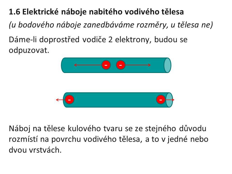 1.6 Elektrické náboje nabitého vodivého tělesa (u bodového náboje zanedbáváme rozměry, u tělesa ne) Dáme-li doprostřed vodiče 2 elektrony, budou se od