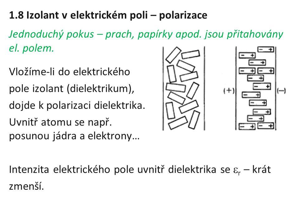 1.8 Izolant v elektrickém poli – polarizace Jednoduchý pokus – prach, papírky apod. jsou přitahovány el. polem. Vložíme-li do elektrického pole izolan