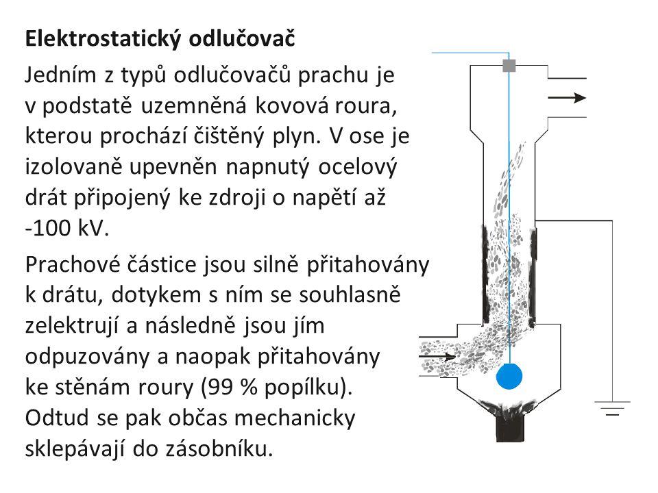 Elektrostatický odlučovač Jedním z typů odlučovačů prachu je v podstatě uzemněná kovová roura, kterou prochází čištěný plyn. V ose je izolovaně upevně