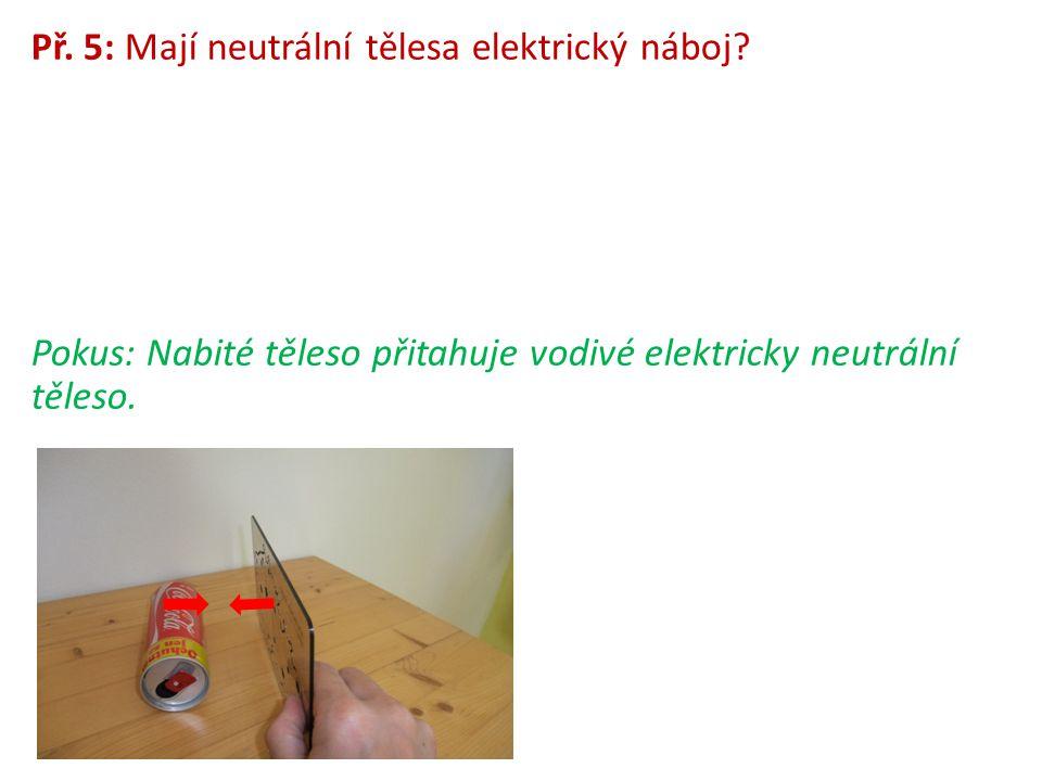 Př. 5: Mají neutrální tělesa elektrický náboj? Pokus: Nabité těleso přitahuje vodivé elektricky neutrální těleso.