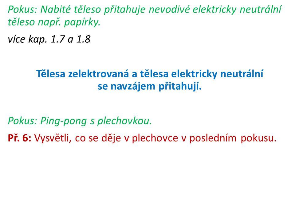 Pokus: Nabité těleso přitahuje nevodivé elektricky neutrální těleso např. papírky. více kap. 1.7 a 1.8 Tělesa zelektrovaná a tělesa elektricky neutrál