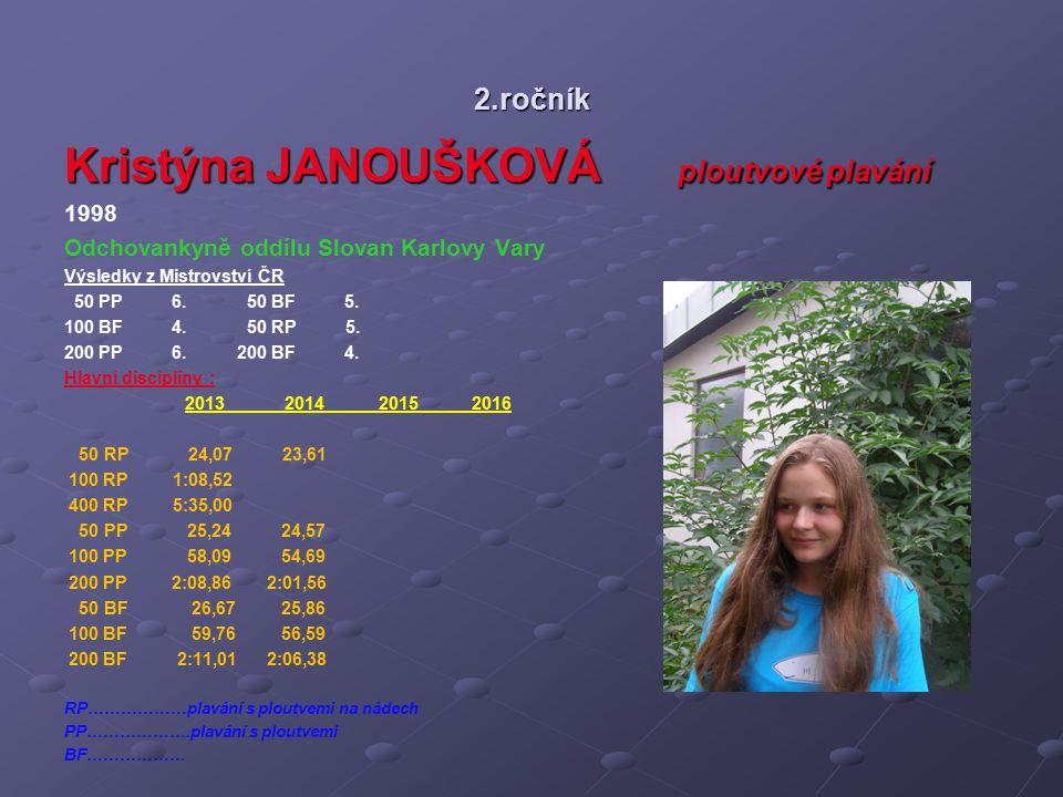 2.ročník Kristýna JANOUŠKOVÁ ploutvové plavání 1998 Odchovankyně oddílu Slovan Karlovy Vary Výsledky z Mistrovství ČR 50 PP 6. 50 BF 5. 100 BF 4. 50 R