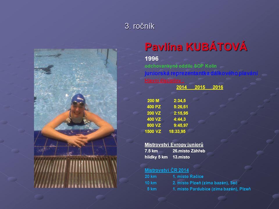 3. ročník Pavlína KUBÁTOVÁ 1996 odchovankyně oddílu SOP Kolín juniorská reprezentantka dálkového plavání Hlavní disciplíny : 2014 2015 2016 200 M 2:34