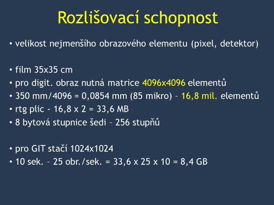 Rozlišovací schopnost velikost nejmenšího obrazového elementu (pixel, detektor) film 35x35 cm pro digit.