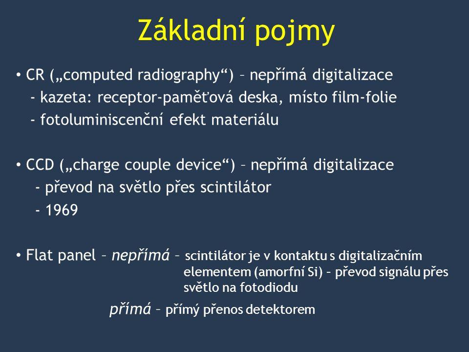 """Základní pojmy CR (""""computed radiography ) – nepřímá digitalizace - kazeta: receptor-paměťová deska, místo film-folie - fotoluminiscenční efekt materiálu CCD (""""charge couple device ) – nepřímá digitalizace - převod na světlo přes scintilátor - 1969 Flat panel – nepřímá – scintilátor je v kontaktu s digitalizačním elementem (amorfní Si) – převod signálu přes světlo na fotodiodu přímá – přímý přenos detektorem"""