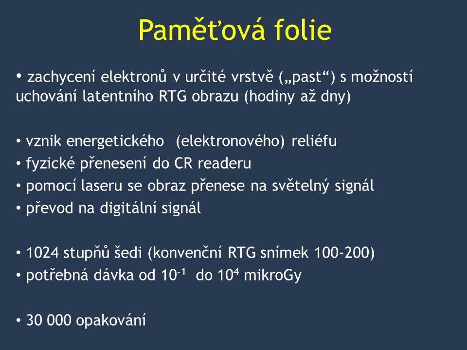 """Paměťová folie zachycení elektronů v určité vrstvě (""""past ) s možností uchování latentního RTG obrazu (hodiny až dny) vznik energetického (elektronového) reliéfu fyzické přenesení do CR readeru pomocí laseru se obraz přenese na světelný signál převod na digitální signál 1024 stupňů šedi (konvenční RTG snímek 100-200) potřebná dávka od 10 -1 do 10 4 mikroGy 30 000 opakování"""